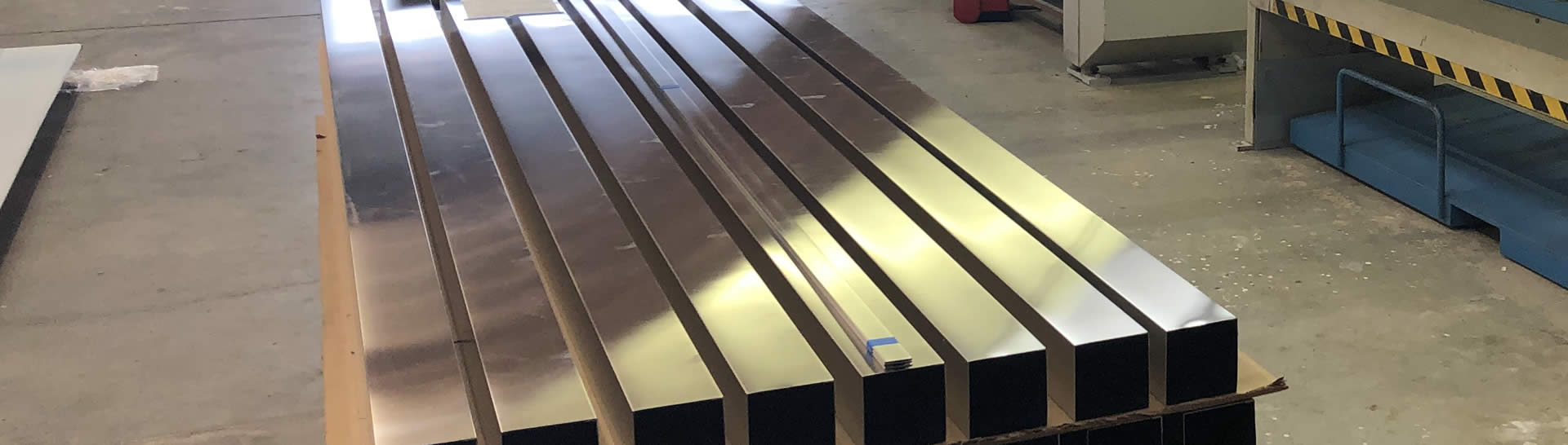 Metal supports laying side by side