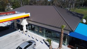 Gas station with brown roofing